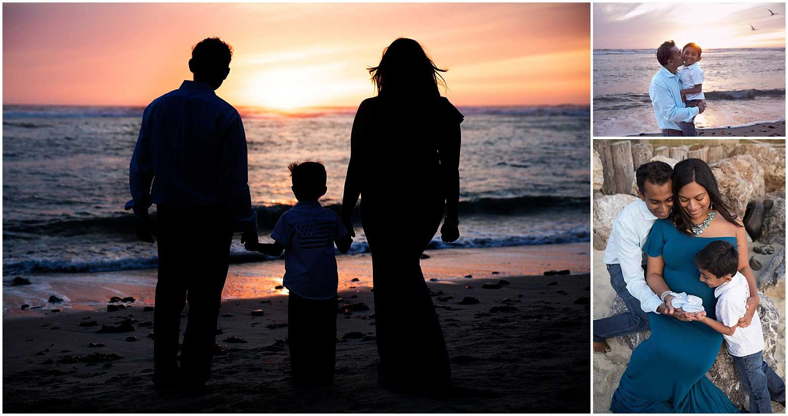 sunset at half moon bay maternity photography
